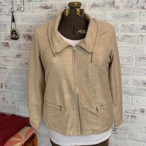 Chico's Zenergy Knit Gold Foil jacket, Sz2 NWT
